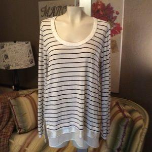 White House Black Market Stripe Tunic Tee Shirt M